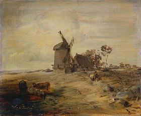 Wilhelm Busch: Landschaft mit Windmühle (oder: Flachlandschaft)