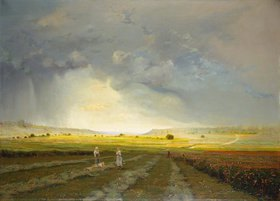 Antoine Chintreuil: Landschaft mit Sonnenlicht und Regenwolken (La Fenaison)