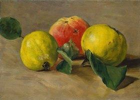 Louis Eysen: Stillleben mit einem Apfel und zwei Quitten