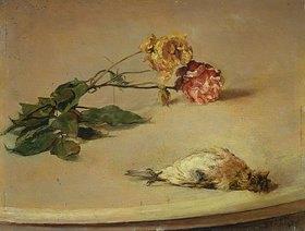 Louis Eysen: Toter Vogel und zwei Rosen auf einer Tischplatte
