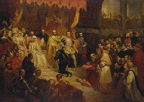 Louis Gallait: Die Abdankg. Kaiser Karls V. zu Gunsten seines Sohnes Philippe II., Brüssel
