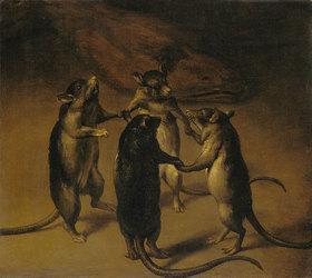 Niederländischer Meister: Der Tanz der Ratten. 17. Jahrhundert
