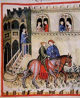 Handschrift: Reiter vor einem Palast. Miniatur aus dem Codex Vindobonesis Series Nova