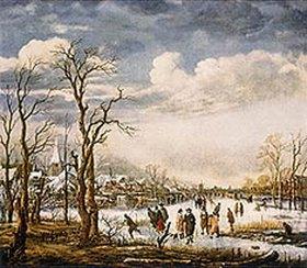 Aert van der Neer: Winterlandschaft mit Schlittschuh-Läufern