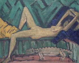 Otto Mueller: Figur auf Sofa liegend