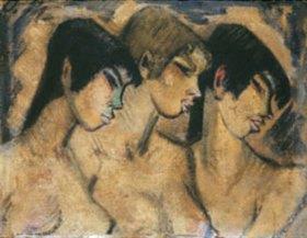 Otto Mueller: Drei Mädchen-Büsten im Profil