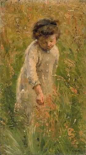 Bertha Wegmann: Kind beim Blumen pflücken