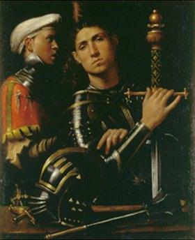 Giorgione (G.da Castelfranco): Bildnis eines Kriegers und eines Stallknechtes