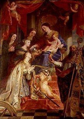 Gaspard de Crayer: Maria mit dem Kind und den hll. Maria- Magdalena, Cäcilia,Dorothea,Katharina und Augustus
