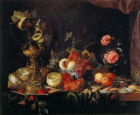 Jan Davidsz de Heem: Stillleben mit verschiedenem Obst, Goldpokal und Nautilus-Muschel