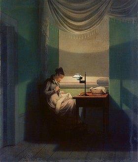 Georg Friedrich Kersting: Junge Frau, beim Schein einer Lampe nähend