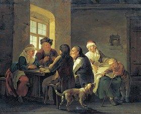Georg Melchior Kraus: Familie beim Mittagessen in einem Dorfwirtshaus