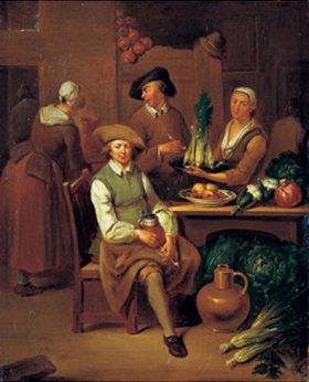 Joh. Gerlach Lambert: Kücheninterieur mit zwei Frauen, Männern mit Bierhumpen und Pfeife