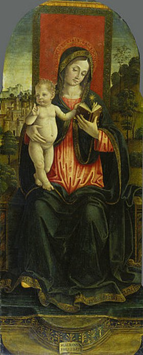 Macrino d'Alba (de Alladio): Thronende Madonna mit Kind