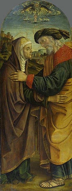 Macrino d'Alba (de Alladio): Begegnung von Joachim und Anna an der Goldenen Pforte
