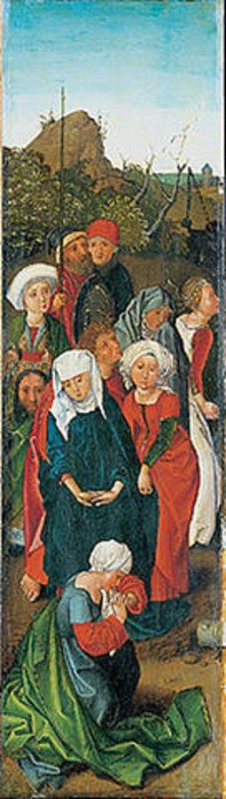 Wilhelm ( Kopie ) Pleydenwurff: Triptychon der Kreuzaufrichtung. Seitentafel Trauernde Frauen
