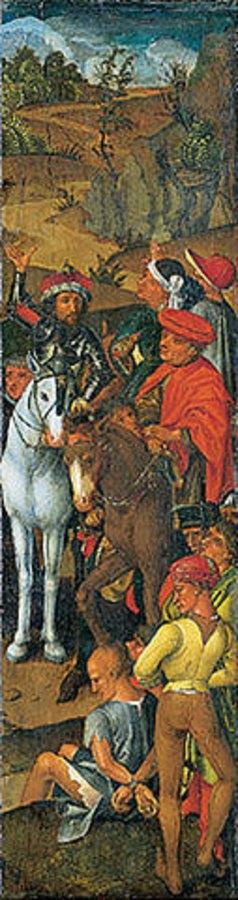 Wilhelm ( Kopie ) Pleydenwurff: Triptychon der Kreuzaufrichtung. Seitentafel Berittene