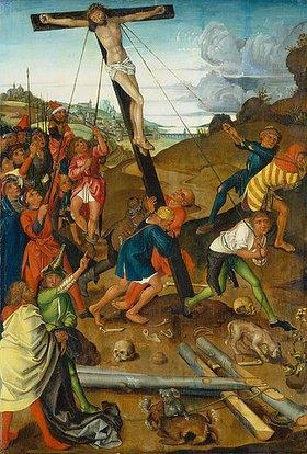 Wilhelm ( Kopie ) Pleydenwurff: Triptychon der Kreuzaufrichtung. Mitteltafel