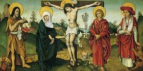 Mittel- oder Oberrheinisch Meister: Kreuzigung mit Johannes d.T. und dem hl. Hiernoymus