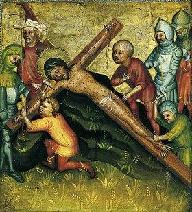 Meister der Passionstäfelchen: Christus wird ans Kreuz genagelt