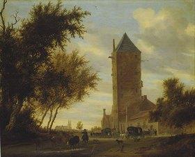 Salomon van Ruysdael: Der Wartturm an der Landstraße. Wohl