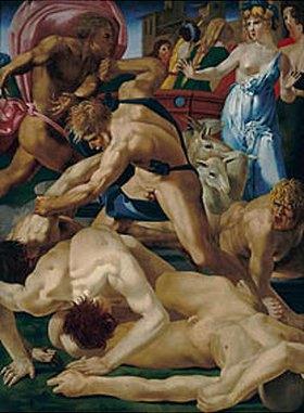 Rosso Fiorentino (Giovanni-Battista di Jacopo): Moses verteidigt die Töchter des Jetro