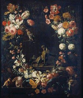 Gaspar Peeter d.J Verbruggen: Blumenstillleben mit Meerkatze