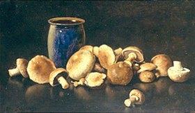 Otto Franz Scholderer: Stillleben mit einer blauen Vase und Pilzen