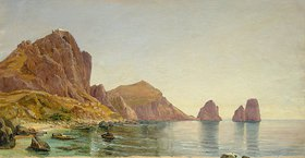 Carl Morgenstern: Südküste der Insel Capri mit Piccola Marina und Faraglioni