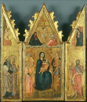 Cristoforo di Bindoccio: Triptychon mit Madonna, Kreuzigung Christi und versch. Heiligen
