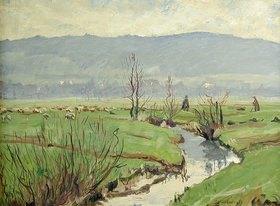 Jakob Nussbaum: Vorfrühlingslandschaft mit Schafherde