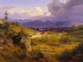 Eduard Wilhelm Pose: Oberbayerische Landschaft am Chiemsee