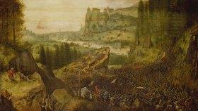 Pieter Brueghel d.Ä.: Der Selbstmord Sauls in der Schlacht auf dem Berg Gilboa. (1562)