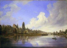 Domenico Quaglio: Ansicht der Stadt Frankfurt am Main von Westen