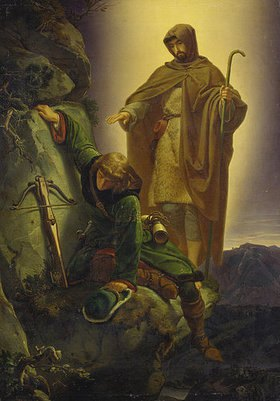Alfred Rethel: Der Schutzengel rettet Kaiser Maximilian aus der Martinswand