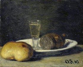 Otto Franz Scholderer: Frühstücks-Stillleben mit Schnapsglas