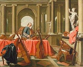 Peter Jakob Horemans: Bildnis eines Hofmusikers mit Saiten- instrumenten