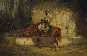 Adolf Schreyer: Ein Araber zu Pferde an der Tränke