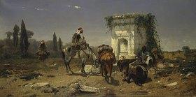 Adolf Schreyer: Rastende Araber an einem Marmorbrunnen