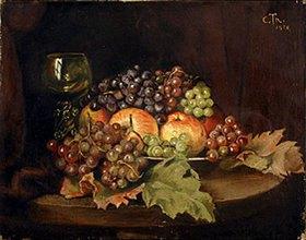 Cella Thoma: Stillleben mit Weintrauben, Äpfeln und Weinglas