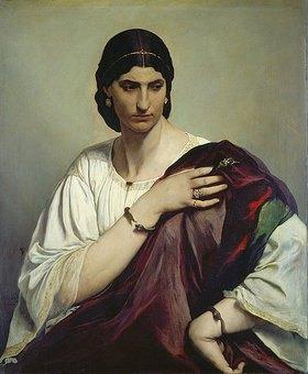 Anselm Feuerbach: Bildnis einer Römerin in weisser Tunika und rotem Mantel