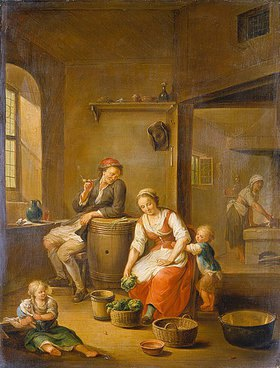 Johann Andreas Herrlein: Eine Bauernfamilie bei häuslicher Beschäftigung