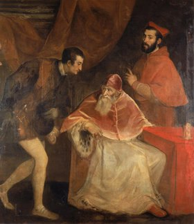 Tizian (Tiziano Vecellio): Papst Paul III. mit seinen Neffen Ottavio und Alessandro Farnese