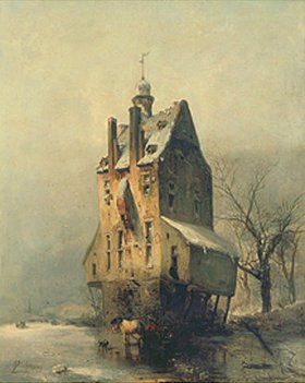 Carl Hilgers: Wasserburg im Winter