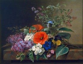 Johan Laurentz Jensen: Blumenstillleben auf Marmorplatte