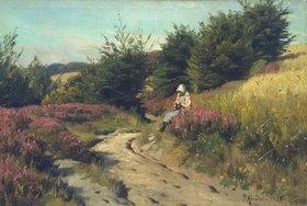 Peder Moensted: Strickendes Mädchen in der Heide