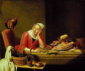 Peter Jakob Horemans: Stilleben mit geldzählender Küchenmagd und Papagei