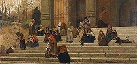 Federico Zandomeneghi: Bettler auf der Treppe des Convents dell` Aracoeli in Rom
