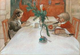 Carl Larsson: Kinder am Abendbrottisch (Aftonvarden)