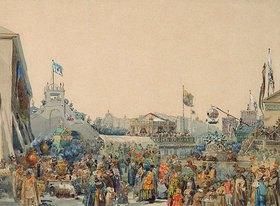 Wassily Sadovnikov: Schaubuden auf dem Admiralitätsplatz in St.Petersburg
